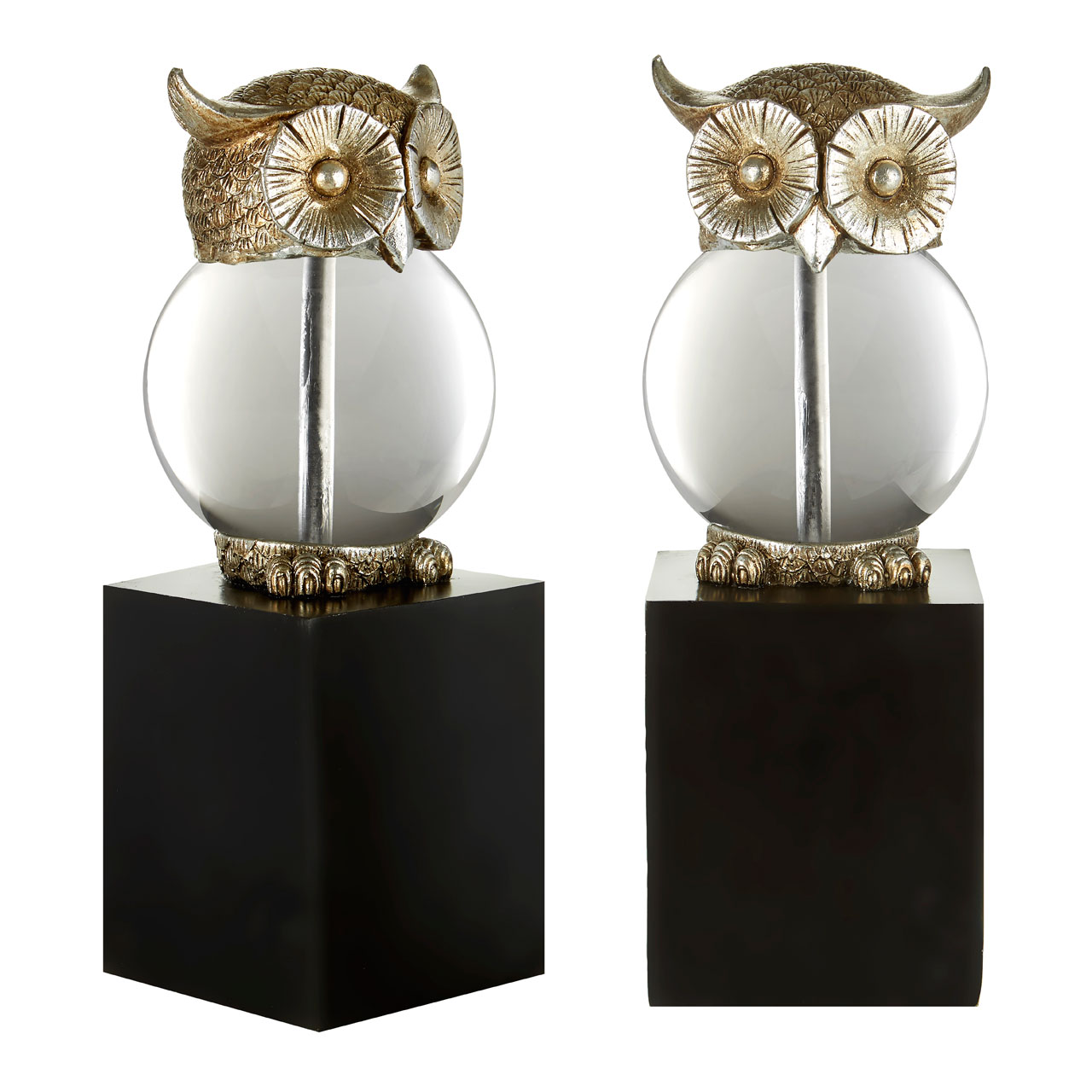 Prime Furnishing Owl Bookends - Silver Black