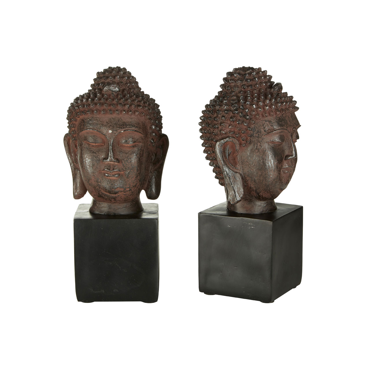 Prime Furnishing Set Of Buddha Head Bookends - Black