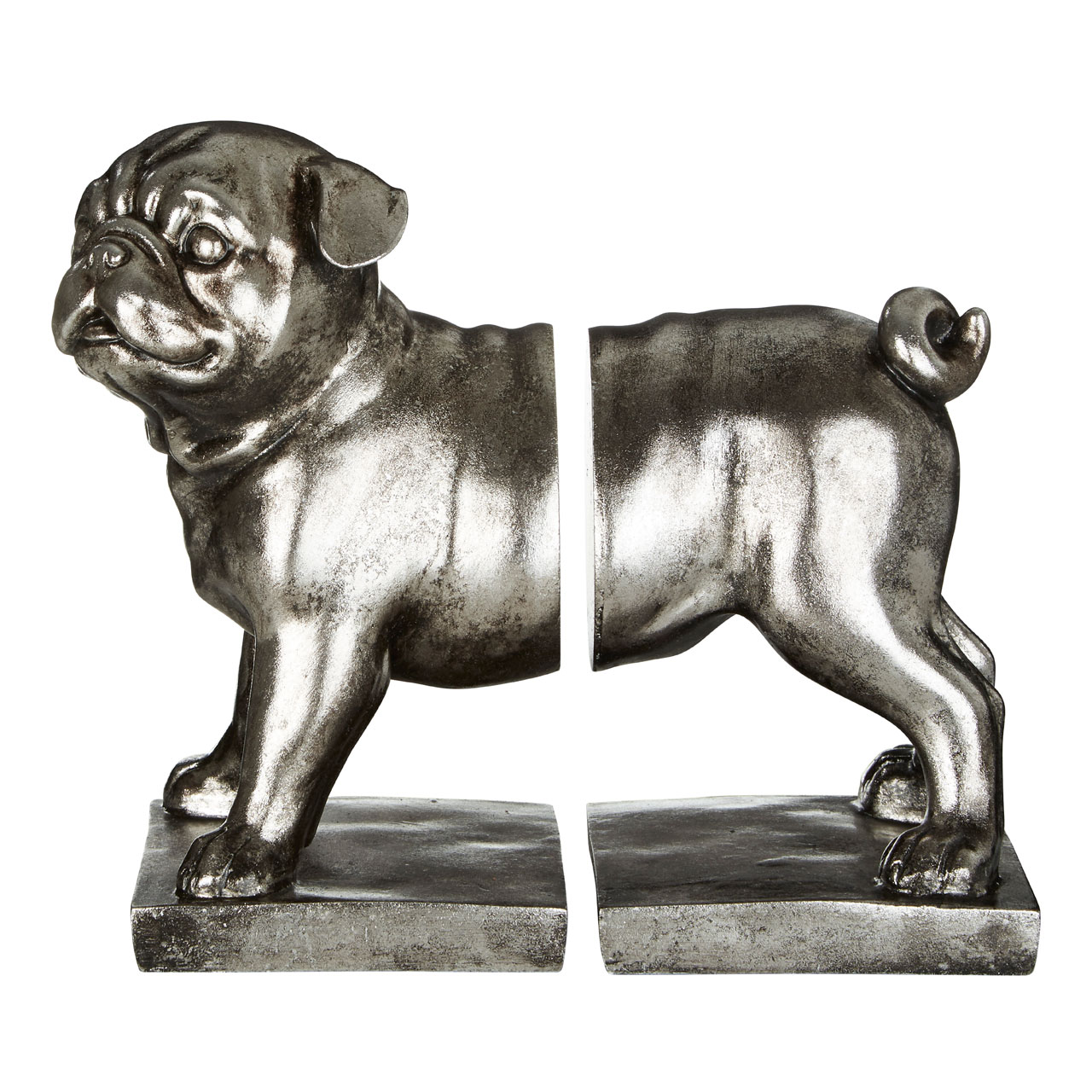 Prime Furnishing Set Of Pug Bookends - Silver