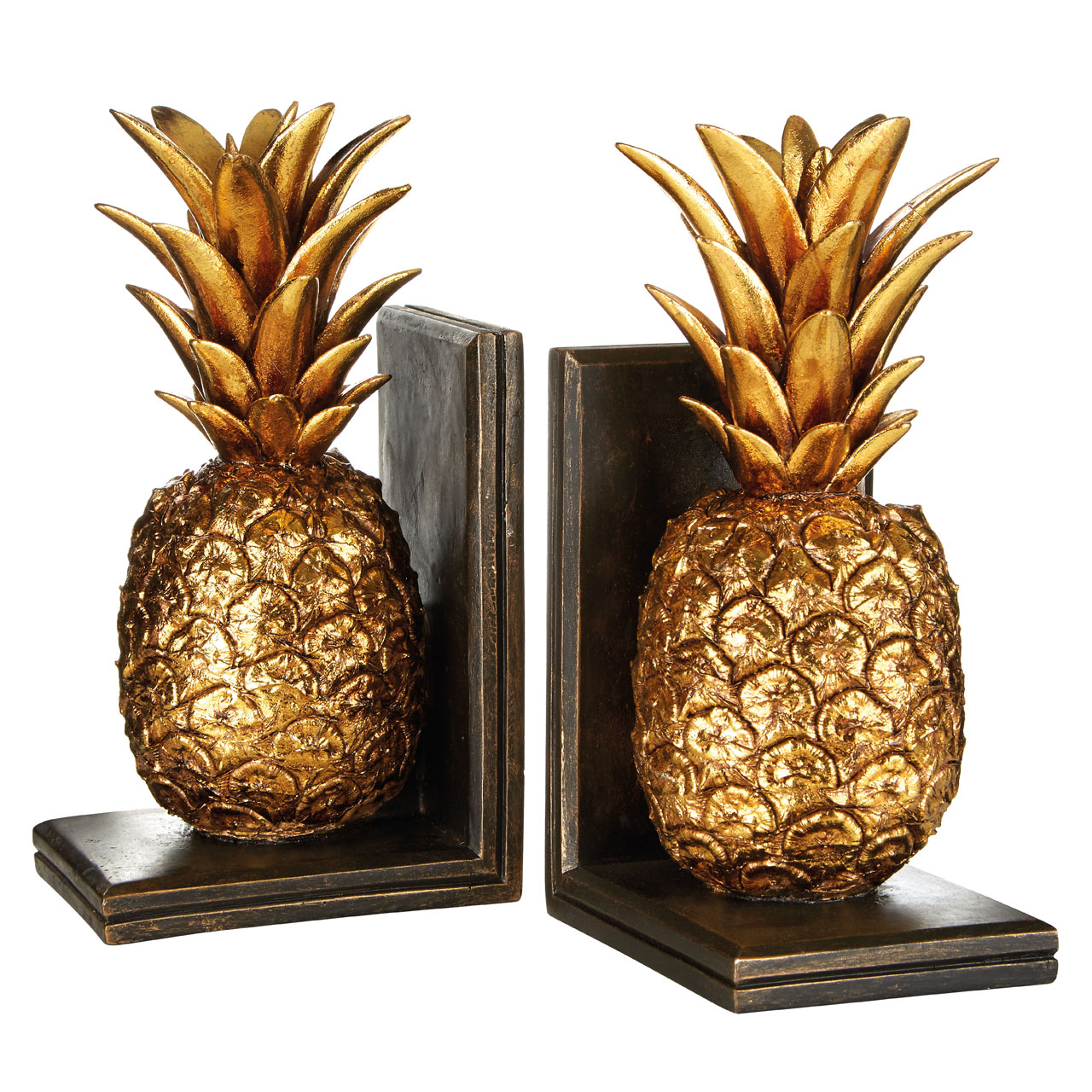 Prime Furnishing Set Of Pineapple Bookends - Gold Brown