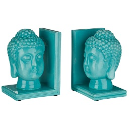 Prime Furnishing Buddha Head Bookends - Turquoise - Set of 2
