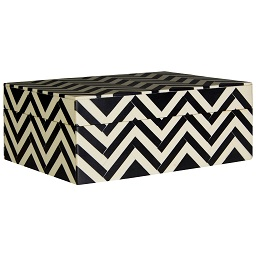 Prime Furnishing Bowerbird Chevron Large Trinket Box,Black/Ivory
