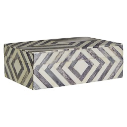 Prime Furnishing Bowerbird Arrow Small Trinket Box, Grey/Ivory