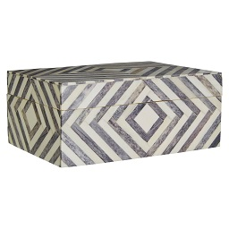 Prime Furnishing Bowerbird Arrow Large Trinket Box, Grey/Ivory