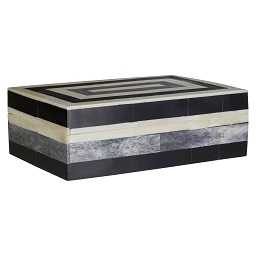 Prime Furnishing Bowerbird Stripe Small Trinket Box, Black/Ivory