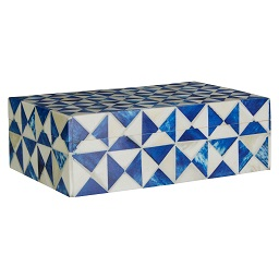 Prime Furnishing Bowerbird Diamond Small Trinket Box, Blue/Ivory