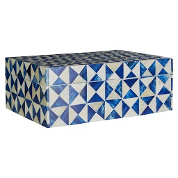Prime Furnishing Bowerbird Diamond Large Trinket Box, Blue/Ivory