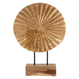 Prime Furnishing Complements Fluted Disc Sculpture, Wooden -Gold