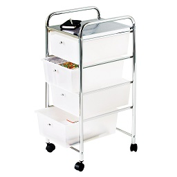 Prime Furnishing 4 White Plastic Drawers Trolley, Chrome Frame