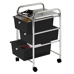 Prime Furnishing 3 Plastic Drawers Storage Trolley - Black