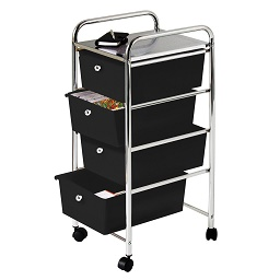 Prime Furnishing 4 Black Plastic Drawers Trolley, Chrome Frame