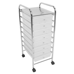 White Trolley 8 Plastic Drawers Chromed Steel Tube Frame