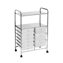 Prime Furnishing 2 Shelf/9 Drawers Trolley With Wheels, White