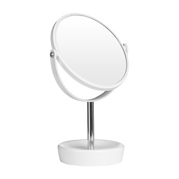 Swivel Table Mirror Plastic Chrome With Magnifying Option (White