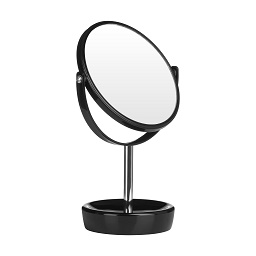 Swivel Table Mirror Plastic Chrome With Magnifying Option (Black