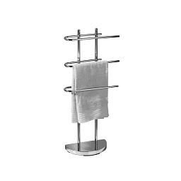 Floor Standing Towel Stand with 3 U-Shaped Arms - Chrome