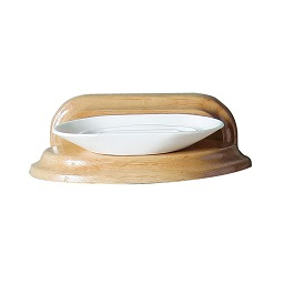 Prime Furnishing White Plastic Soap Dish With Oak Wood Holder
