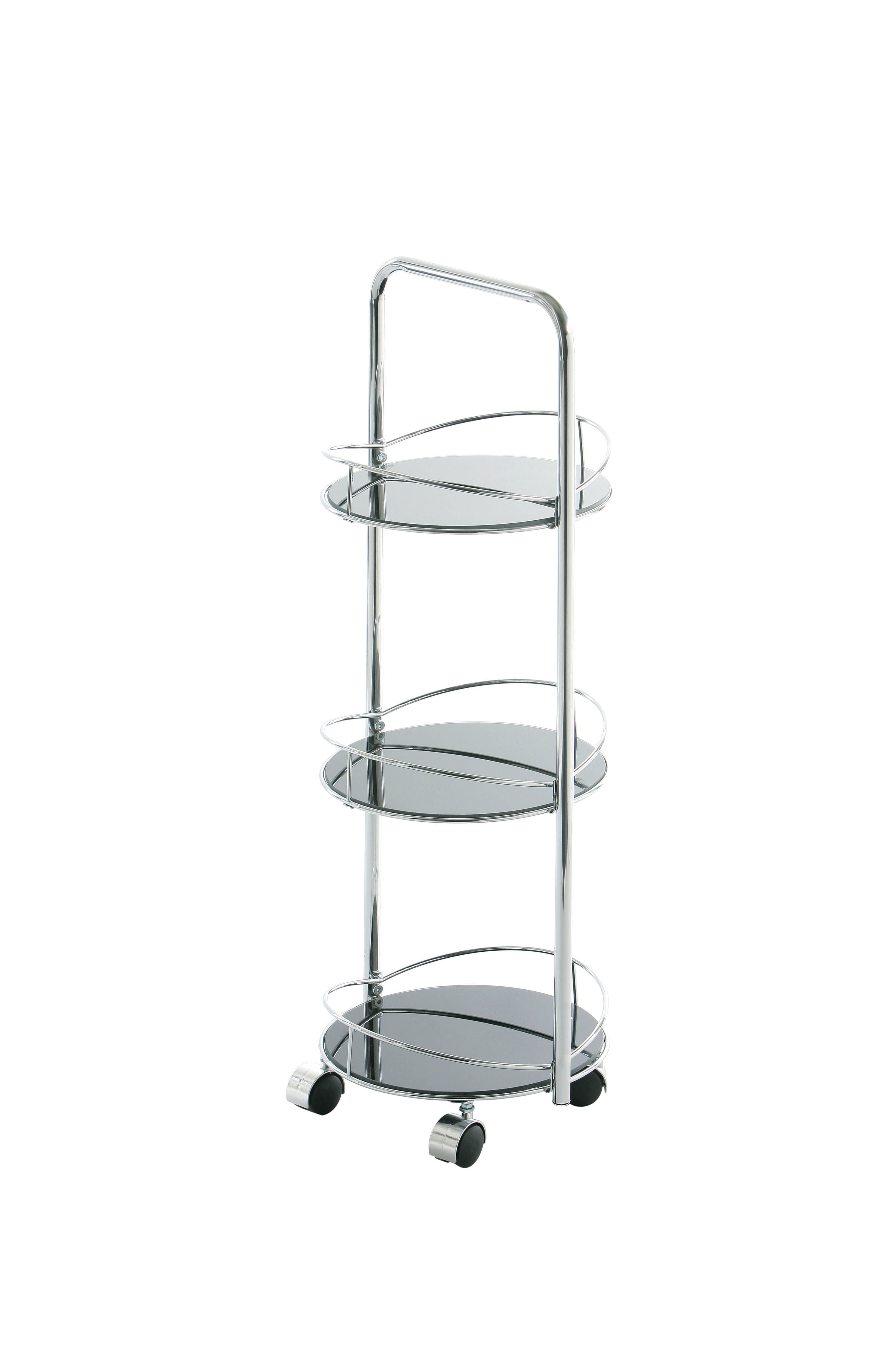 Bathroom Trolley, Round Black Glass, 3 Tier