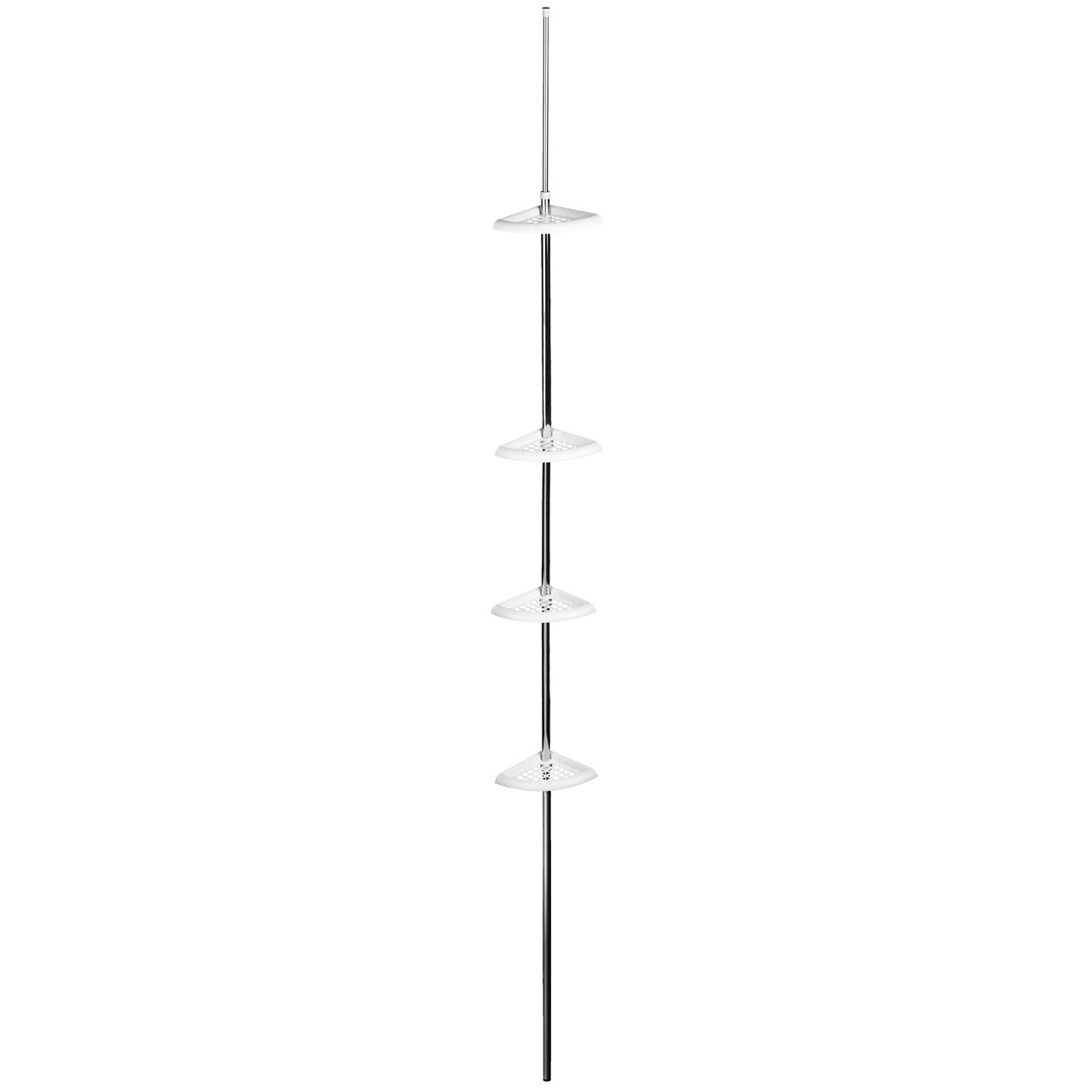 Corner Shelf Unit 4 Tier/Tension Spring Mount Perfect For Bathro