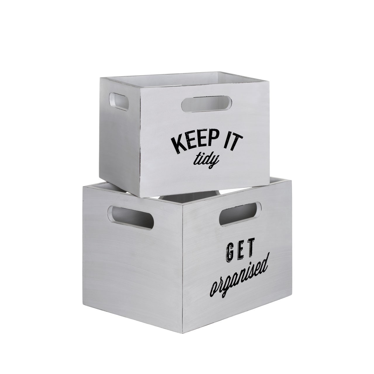 Prime Furnishing Tribeca Storage Crates, White MDF, Set of 2