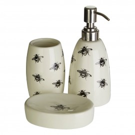 Prime Furnishing 3pc Queen Bee Bathroom Set - Natural/Black