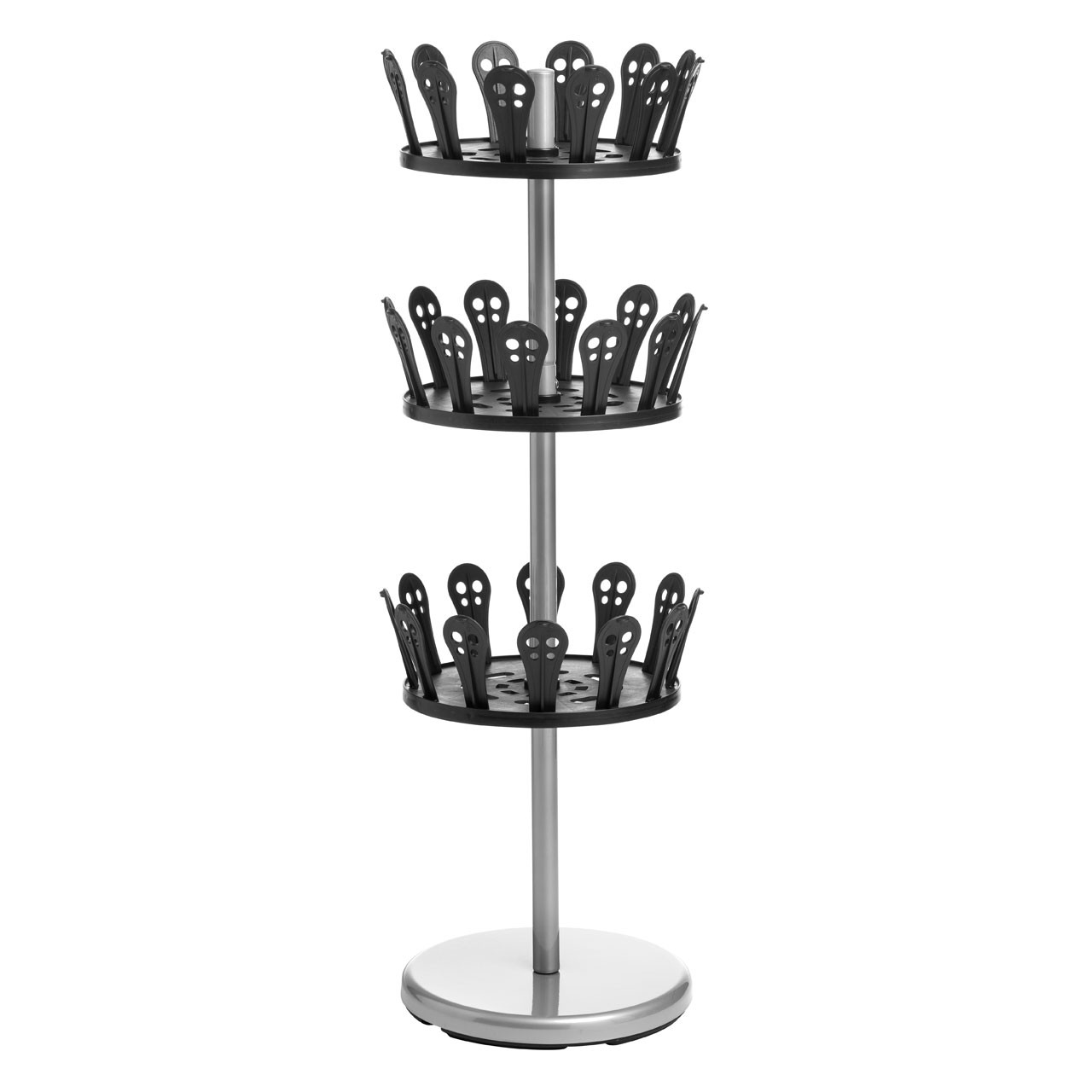 Prime Furnishing 3-Tier Revolving Shoe Stand - Black