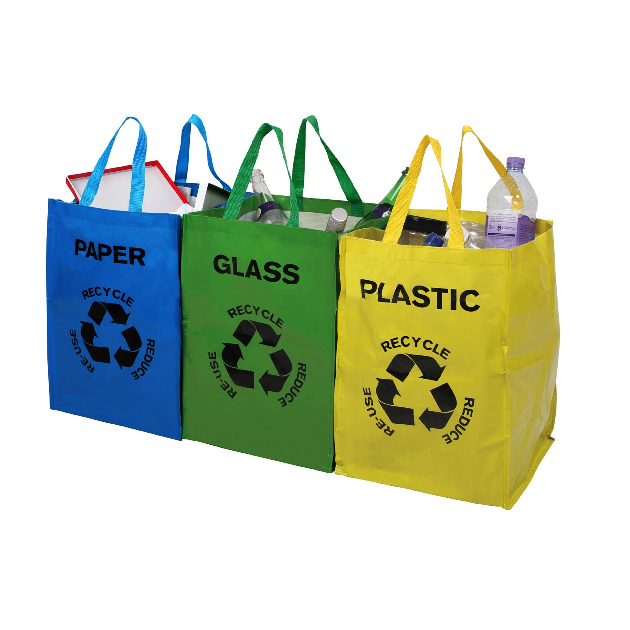 Prime Furnishing Plastic, Glass & Paper Recycle Bags - Set of 3