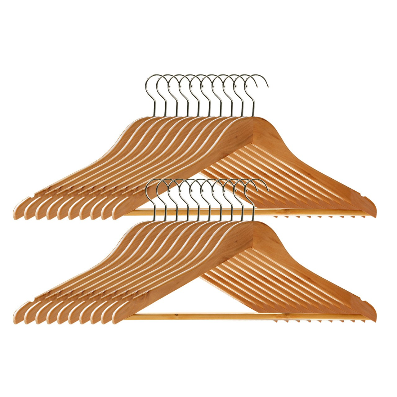 Prime Furnishing Wooden Clothes Hangers - Pack of 20