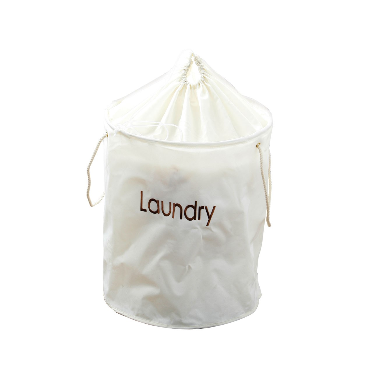 Prime Furnishing Polyester Laundry Bag, Drawstring Top - Cream