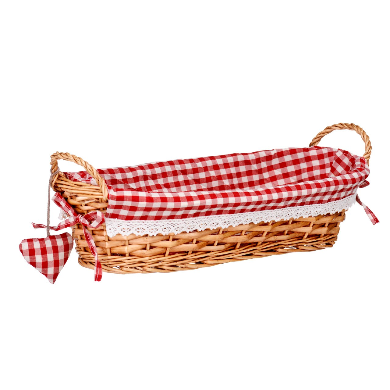 Prime Furnishing Oblong Willow Basket with Gingham Lining - Red