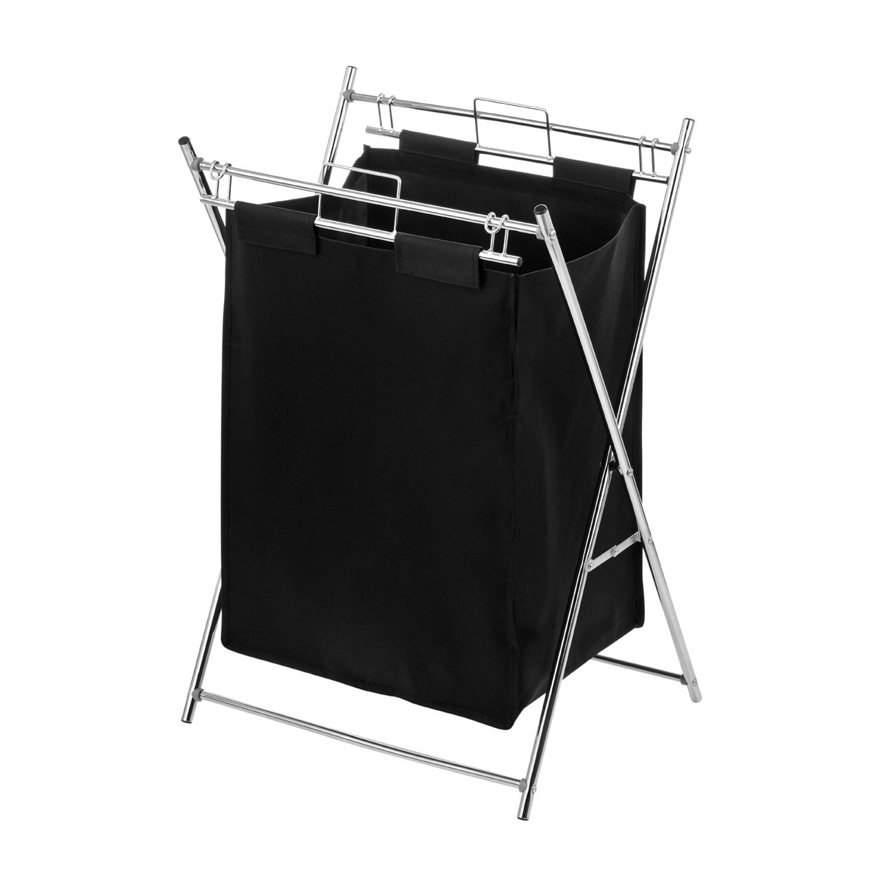 Laundry Bag with Chrome Frame - Black