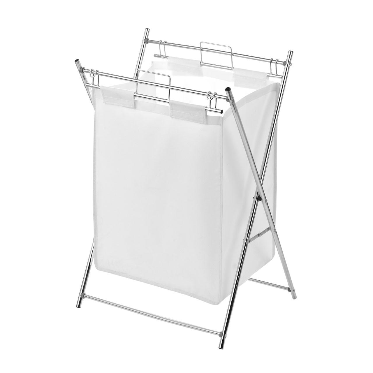 Laundry Bag with Chrome Frame - White