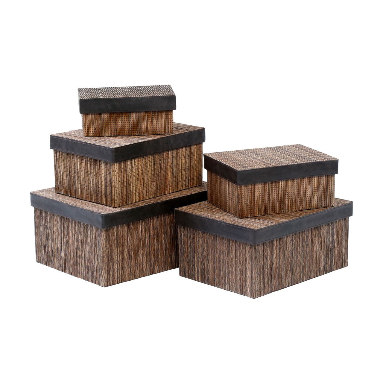Prime Furnishing Coconut Stick Storage Boxes, Natural - Set Of 5