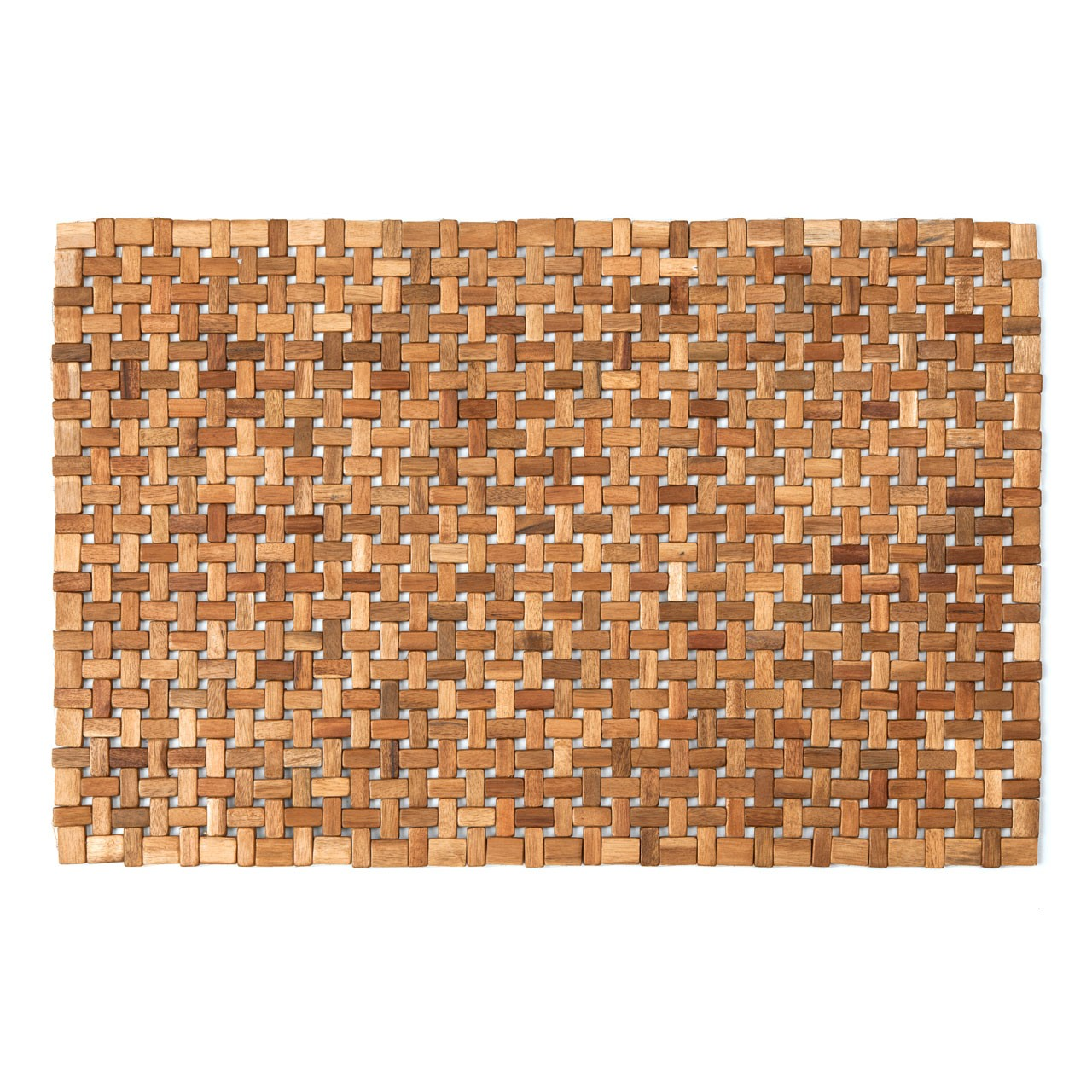 Prime Furnishing Acacia Wood Indoor Cross Block Door Mat-Natural