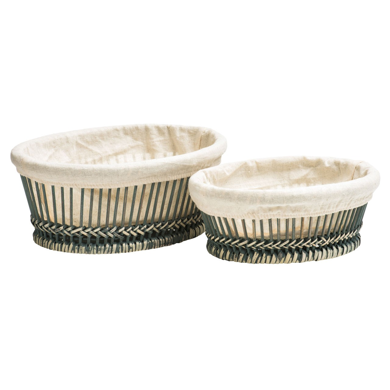 Set Of 2 Bread Baskets Rattan/Bamboo with 100% Cotton Liners