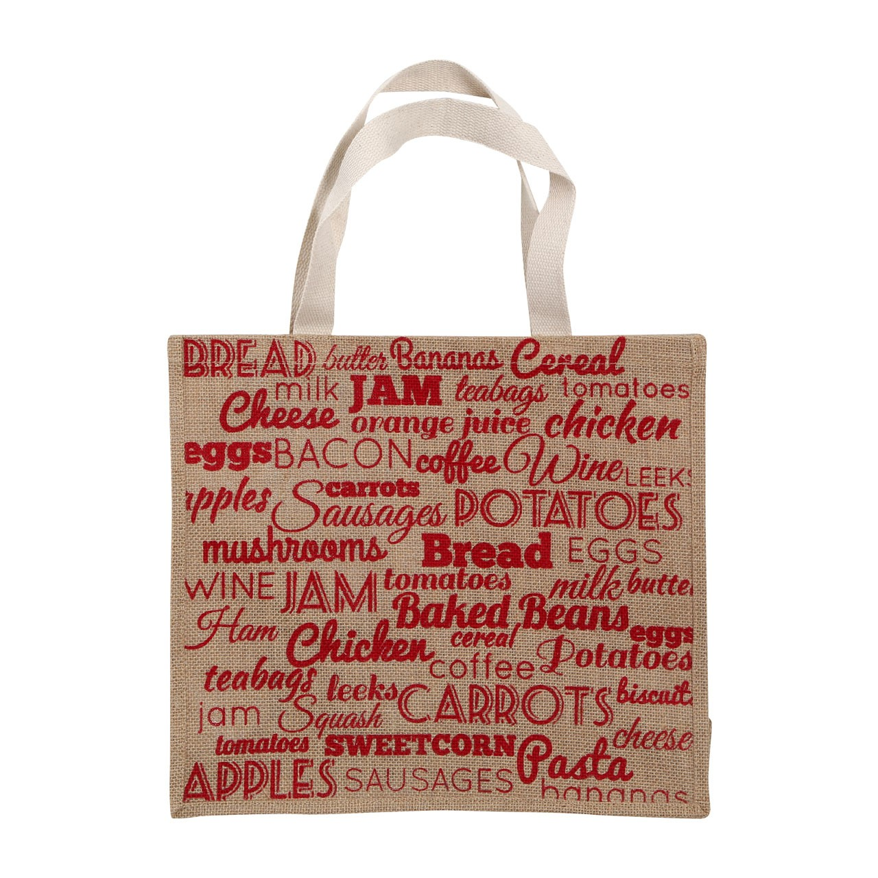 Food Stuff Shopping Bag Jute Hessian/Cotton Natural/Red