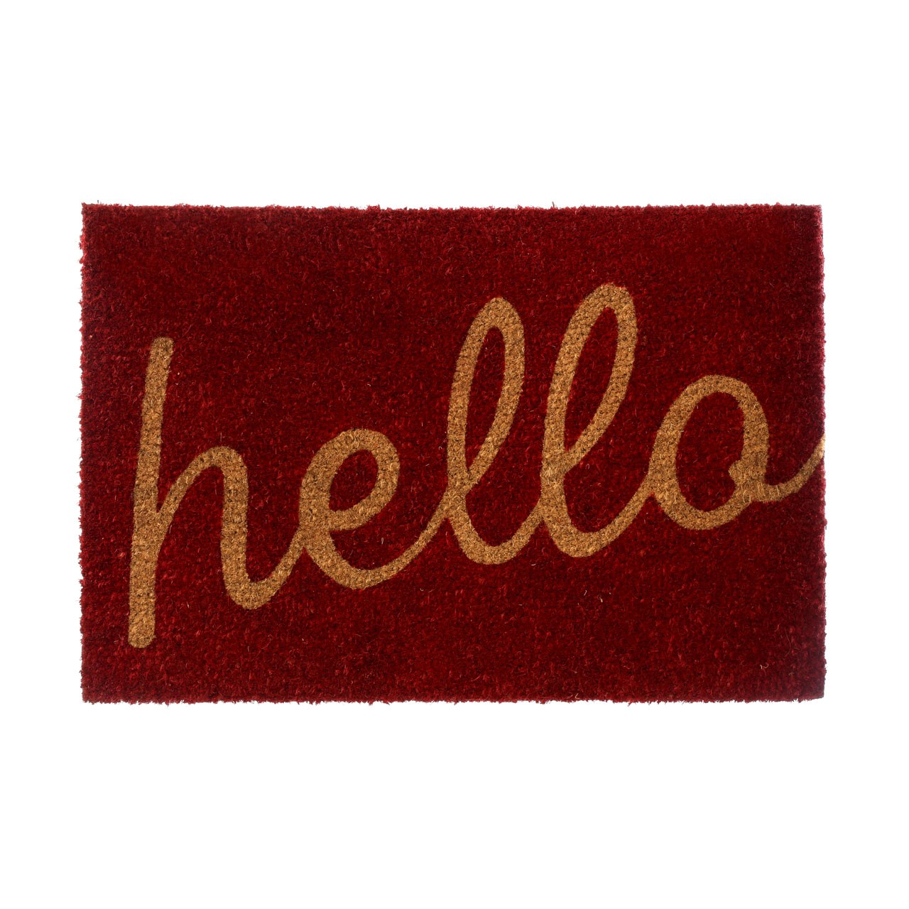 "Prime Furnishing ""Hello"" Doormat - Red/Natural"
