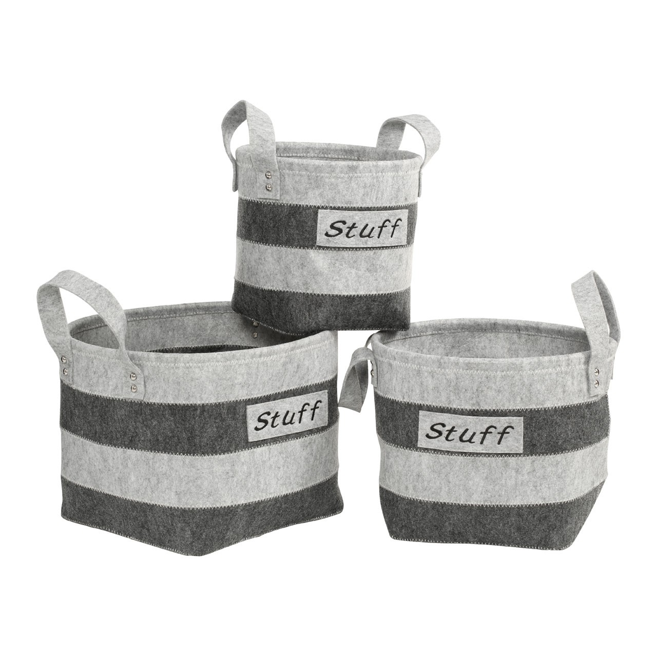 Prime Furnishing Stuff Storage Baskets, Dark/Light Grey - Set Of