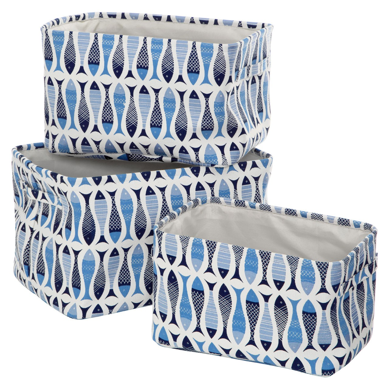 Prime Furnishing Pisces Storage Boxes - Natural & Blue - Set of