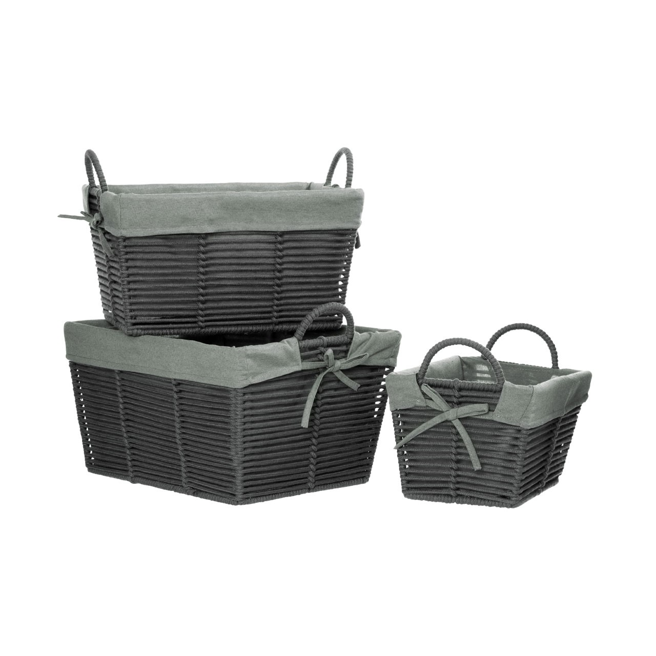 Prime Furnishing LIDA Rope Storage Boxes, Dark Grey - Set of 3