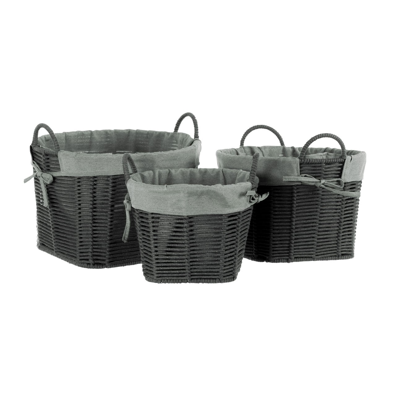Prime Furnishing LIDA Storage Baskets, Dark Grey - Set of 3