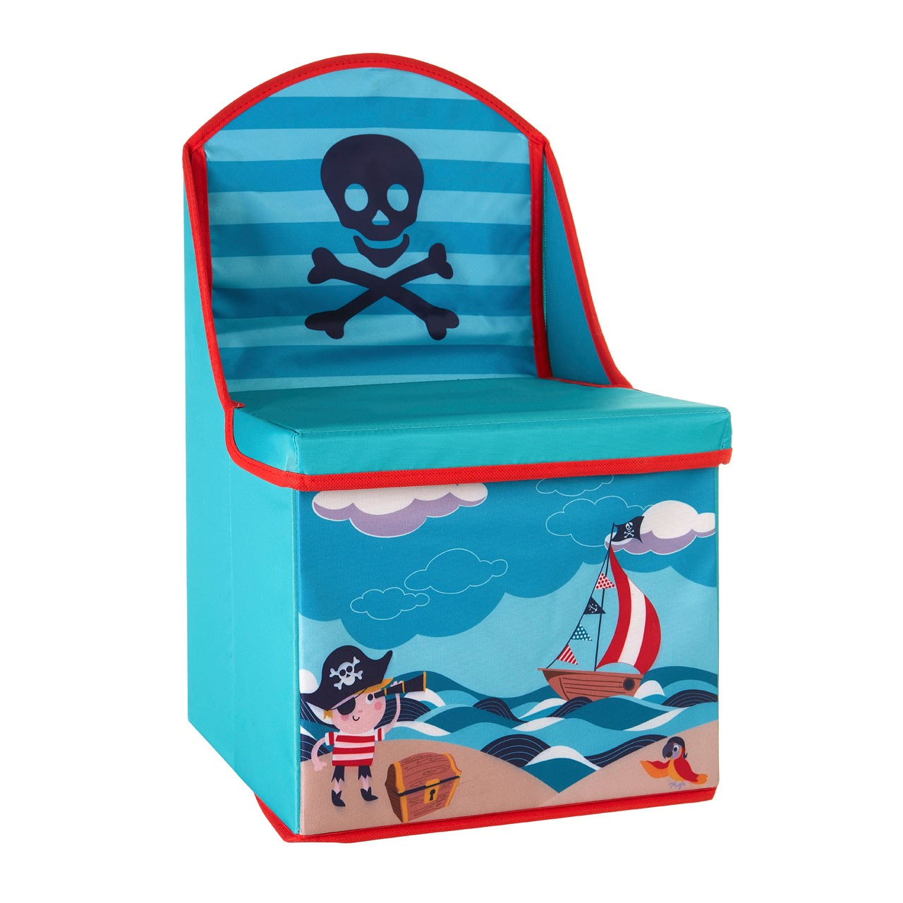 Prime Furnishing Children's Pirate Design Storage Box/Seat -Blue