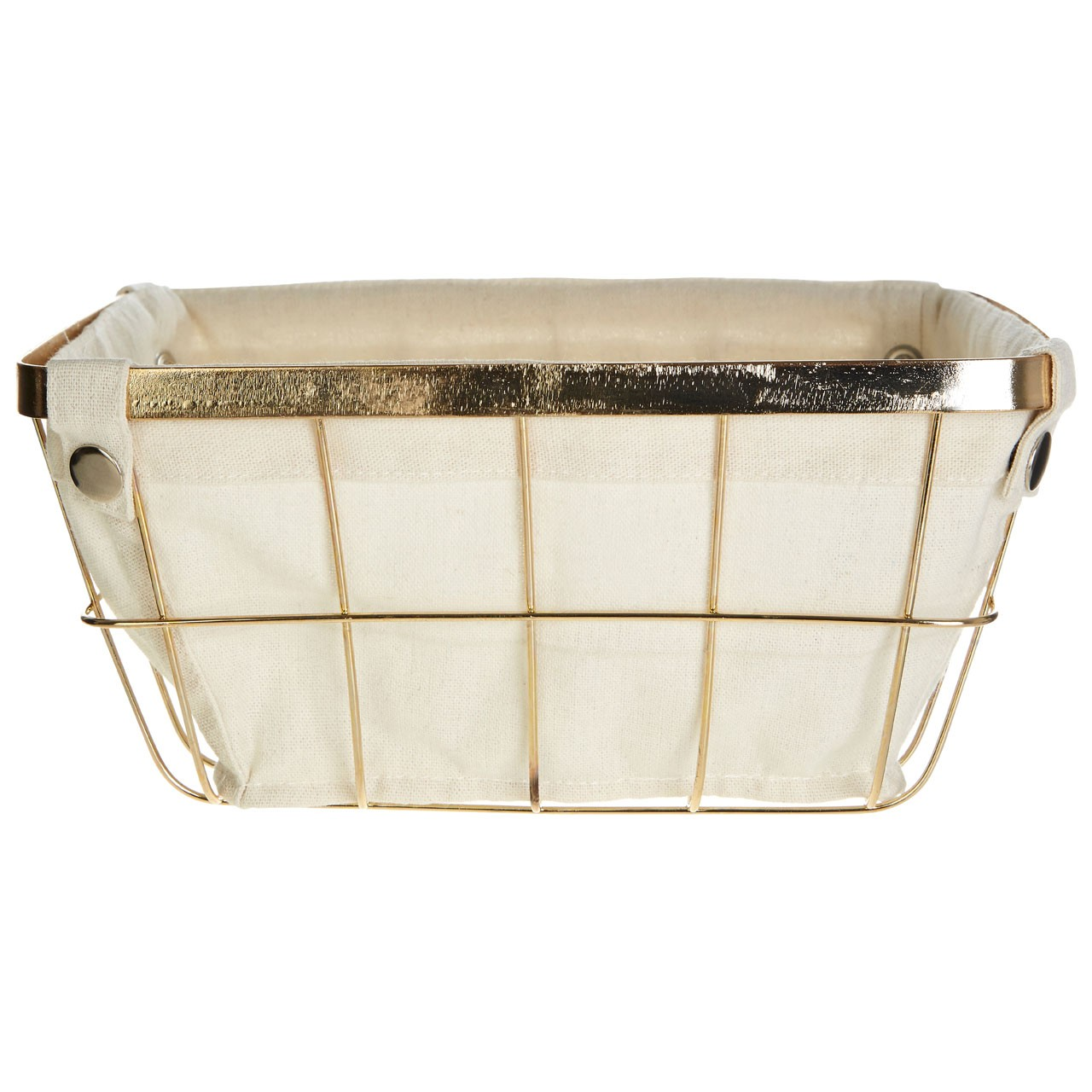 Prime Furnishing Square Storage Basket / Gold Plated Iron Wire