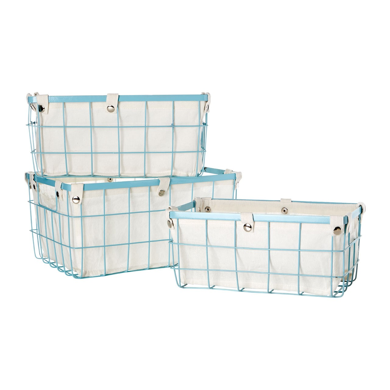 Prime Furnishing Rectangle Blue Wire Storage Basket - Set of 3