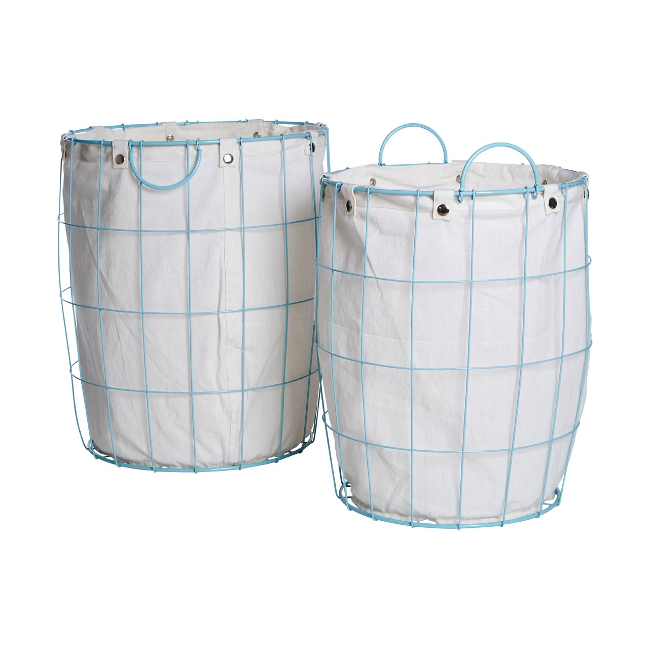 Prime Furnishing Round Blue Wire Laundry Baskets - Set of 2
