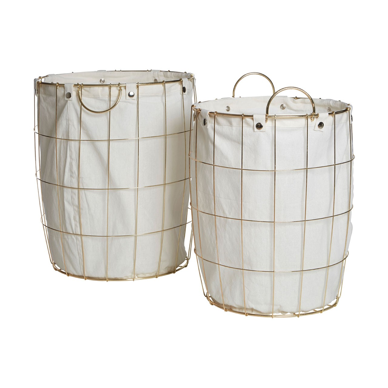 Prime Furnishing Round Gold Wire Laundry Basket - Set of 2 - Click Image to Close