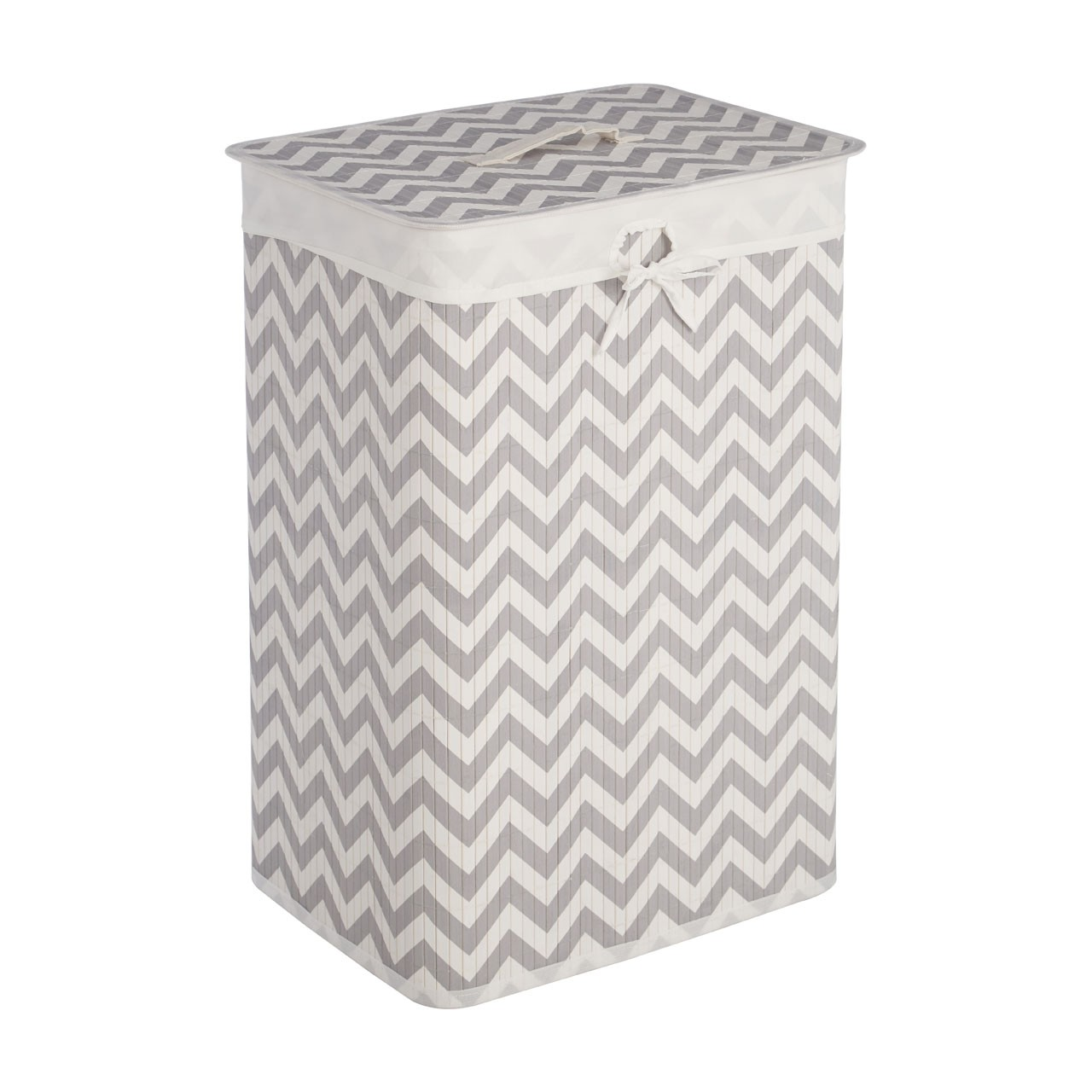 Prime Furnishing Kankyo Laundry Hamper - White /Grey Chevron
