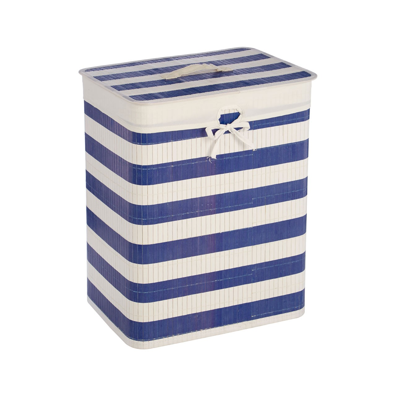 blue and white stripes on the Kankyo nautical laundry hamper