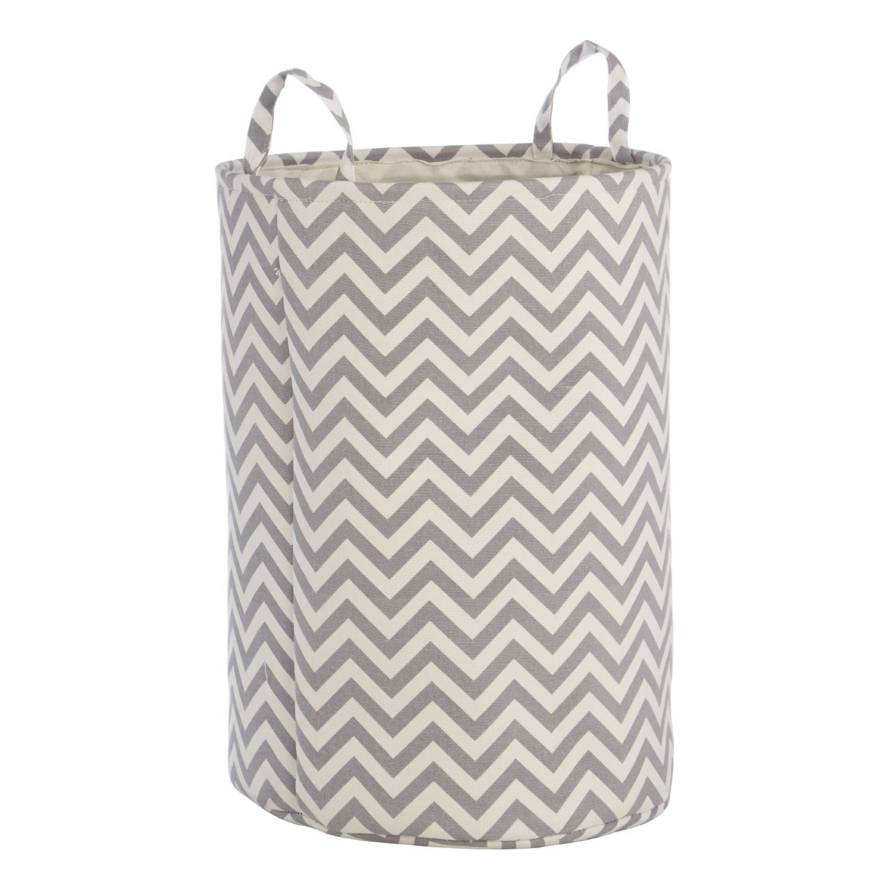 Prime Furnishing Laundry Hamper - White / Grey Chevron