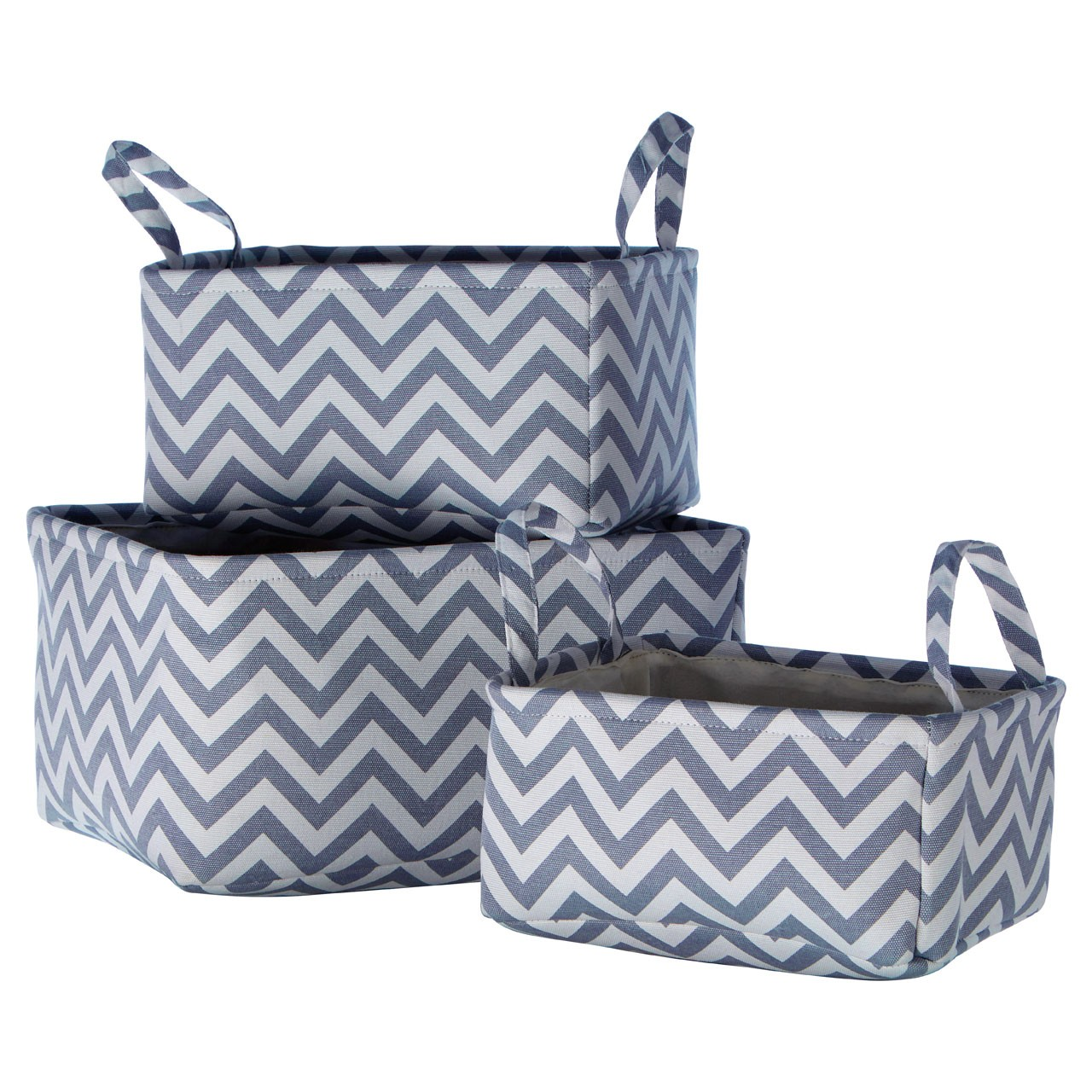 Prime Furnishing Chevron Storage Baskets - Grey - Set Of 3